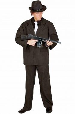 Costume carnevale uomo gangster gessato nero e bianco