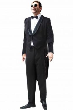 Costume giacca nera frac uomo Charlie Chaplin Charlot o Penguin