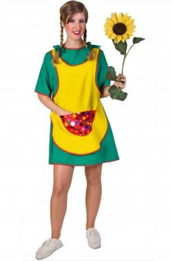 Costume carnevale donna giardiniera calze lunghe delle pippi