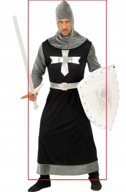 Costume carnevale da re o cavaliere medievale o crociato nero