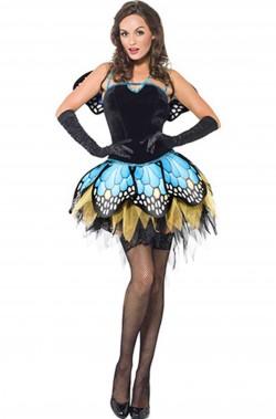 Costume carnevale da donna da farfalla blu e verde con ali