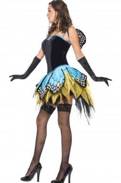 Vestito di carnevale da donna da farfalla blu e verde con ali