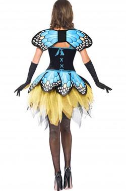 Maschera di carnevale da donna da farfalla blu e verde con ali
