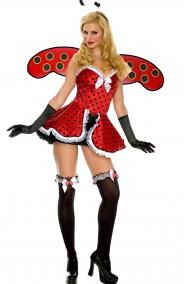 Costume donna Coccinella sensuale e bella rosso e nero lady bug
