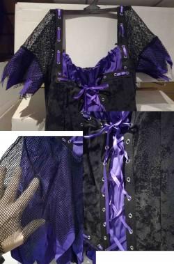 Vestito Halloween strega viola gotica per ragazza