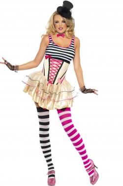 costume di carnevale da donna clown burlesque