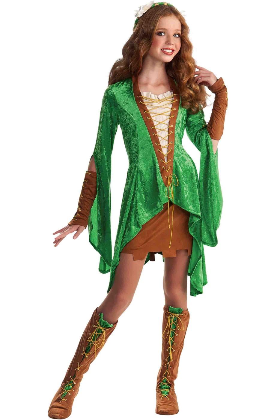 Costume cosplay medievale Lady Maid Marion o elfa verde