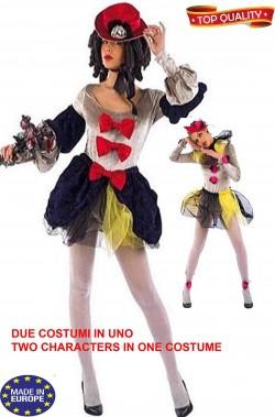 Costume di carnevale donna due in uno 700 o arlecchino