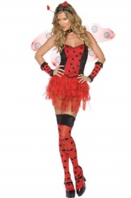 Vestito di carnevale donna Coccinella bella rosso e nero lady bug