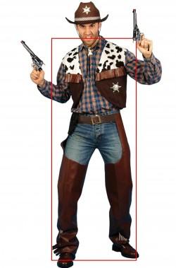 Costume Cowboy da uomo sceriffo adulto pezzato marrone