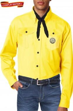 Camicia gialla replica di sartoria Tex Willer con spilla Texas Rangers