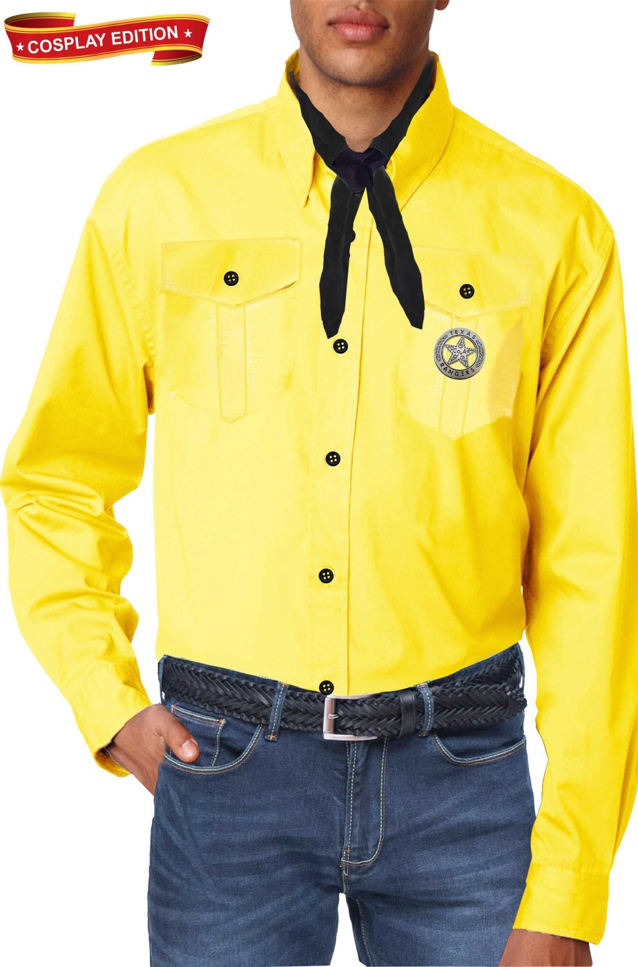 Camicia gialla replica di sartoria Costume cosplay Tex Willer con spilla Texas Rangers