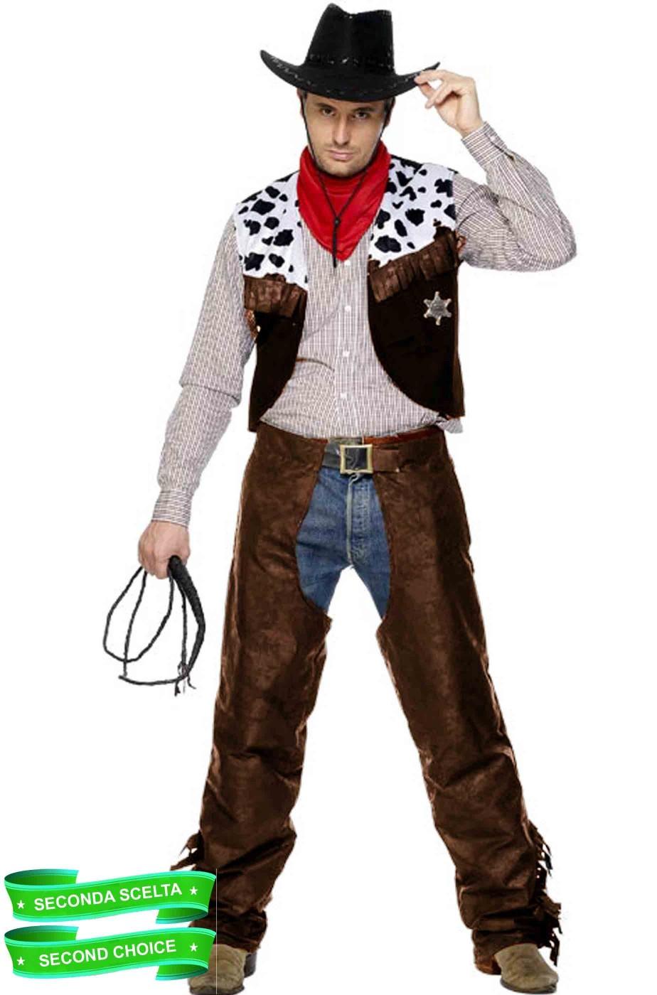 Vestito di carnevale Cowboy marrone adulto scontato seconda scelta
