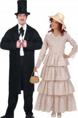 Coppia di vestiti di carnevale Via Col Vento Rhett e Rossella economici