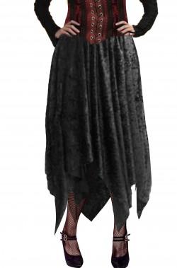 Gonna lunga nera donna con orlo a punte per Halloween