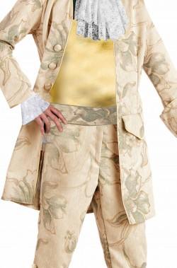 Camicia di carnevale oro e bianca a manica lunga con polsi di pizzo
