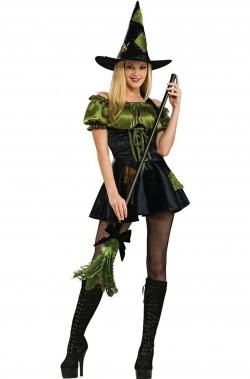 Costume di Halloween da strega verde stile mago di Oz donna
