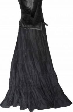 Gonna nera lunga a balze dama 800 elegante