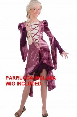 Costume Rapunzel lusso donna con parrucca bionda