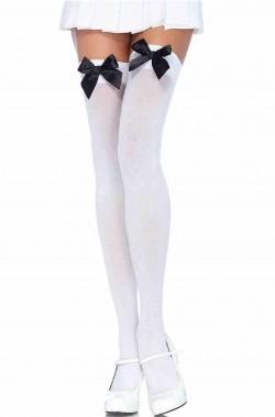 Calze da donna autoreggenti bianche con fiocco nero