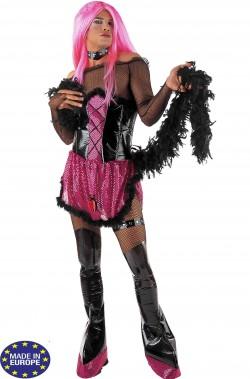Costume drag queen nero e rosa con collarino