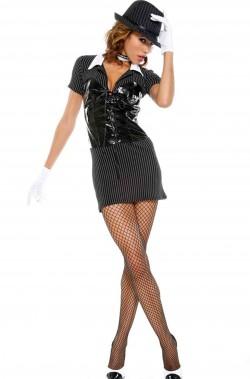 Costume donna gangster con corsetto in vinile