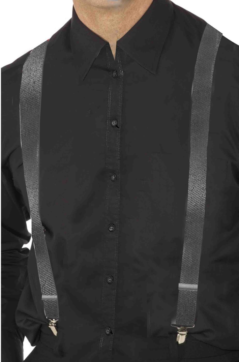 Bretelle nere con filettatura argento