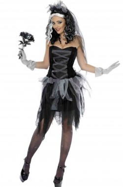 Costume Halloween da donna Sposa Cadavere nera