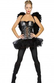 Costume Halloween da donna angelo nero con tutu