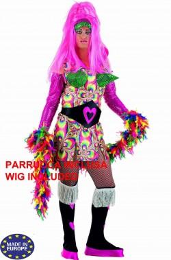 Costume drag queen psichedelica pride con parrucca