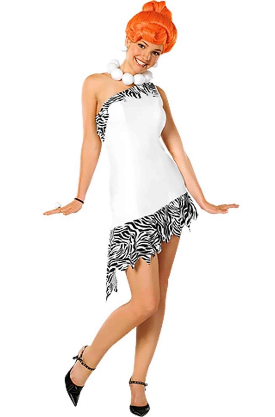 Costume Wilma Flintstone de Luxe con collana e parrucca