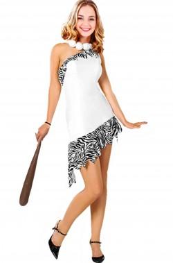 Costume Wilma Flintstone de Luxe con collana Senza parrucca