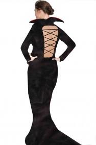 Costume Halloween lungo nero vampira regina dei pipistrelli