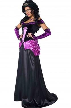 Costume dama gotica dell'800 vittoriana nero e viola con strascico