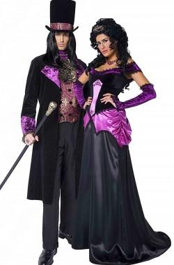 Coppia di vestiti Halloween vittoriani Conte e Contessa gotici dell'800