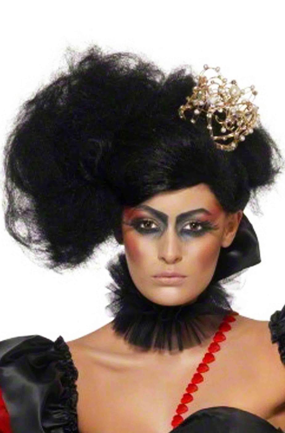 Parrucca nera Regina di Cuori folle o belle Halloween