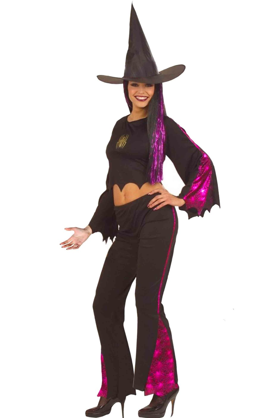 Costume Halloween da strega con top e pantalone donna adulta