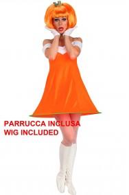 Vestito di carnevale da donna zucca sfiziosa con parrucca anni 60