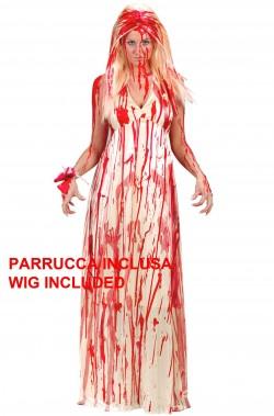 Costume Halloween donna Carrie lo sguardo di satana con parrucca