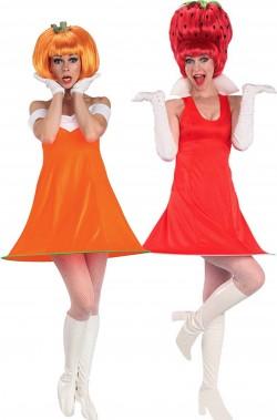 Coppia di vestiti di carnevale donna zucca e fragola