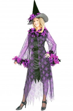 Costume donna strega con piume viola adulta