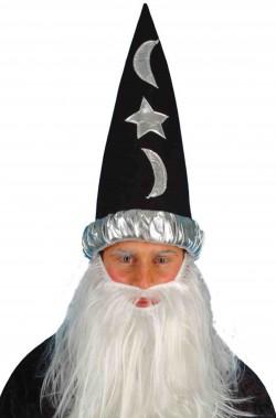 Cappello a punta da mago nero con stelle e lune nero