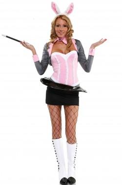 Costume carnevale donna Coniglietta nel cilindro tipo playboy