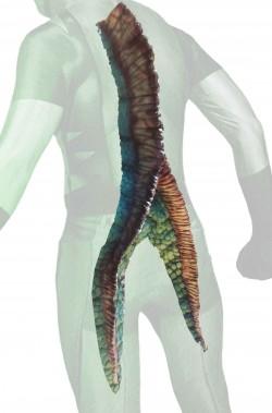 Coda bifida a due punte da rettile dinosauro mostro in schiuma