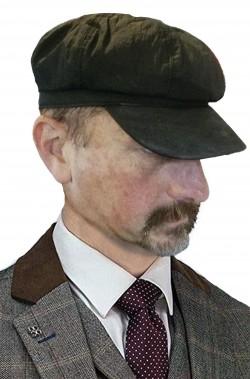 Cappello nero coppola con visiera strillone Anni 30 40 spazzacamino stile peaky blinders