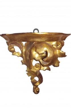 Mensole stile 700 color oro di legno intagliate a mano