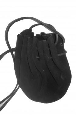 Borsetta stile medievale pochette in finta pelle nera 15cm
