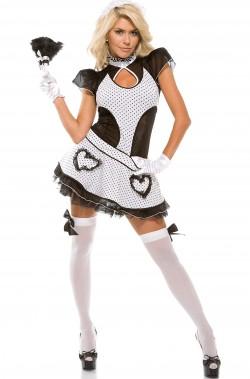 Costume da cameriera sexy corto con cuori