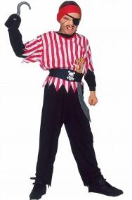 Costume da pirata bambino rosso bianco e nero