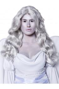 Parrucca grigia argento lunga mossa da angelo